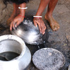 After cooking, ash from stoves is used for cleaning pots and pans.